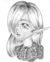 Grey Scale Elf Girl by FallenAngelNina