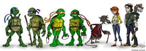 Ninja Turtle Lineup by OuthouseCartoons