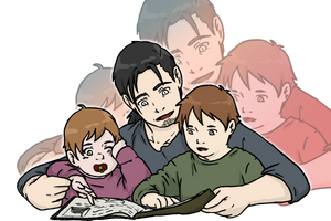Art Trade: Reading with Grandpa Paddy by yinyangswings
