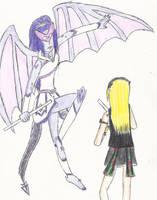 CA Bloodstone Bat and Amethyst Dragon by SailorSunPhoenix