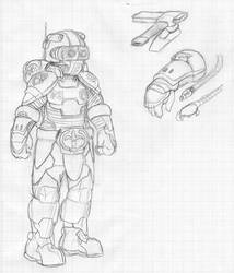 Raw Scan #008: Powered Armor Concept by JohnColburn