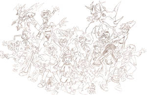 Zone Tamers Main Cast rough by BlueIke