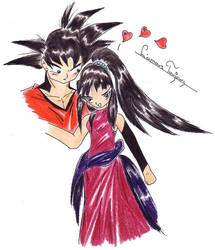 Goku and Chichi by dragonballdeviants