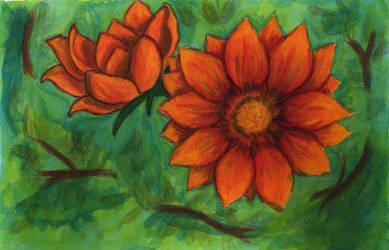Orange Flowers by Apashi8