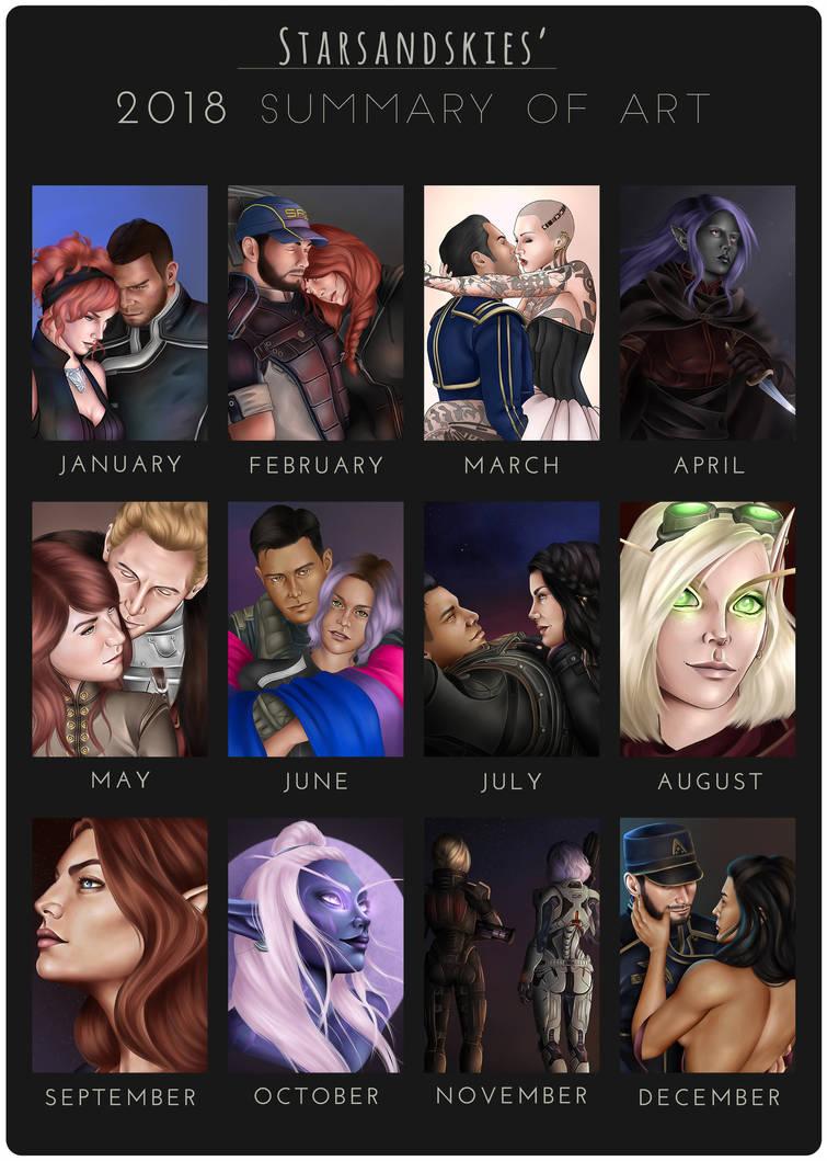2018 Summary of Art by StarsandSkies-Art