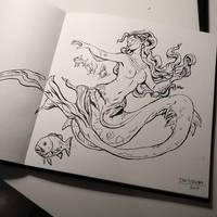 Inktober day 4: underwater mermaid by Jordy-Knoop
