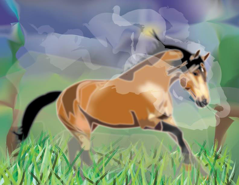 Horse Running in Fog by Plutonicorn