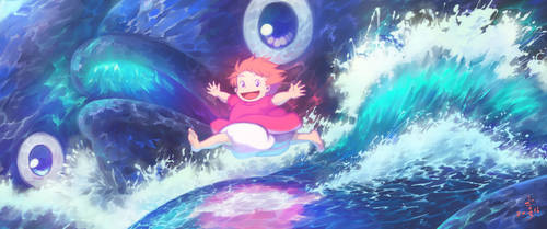 Ponyo on the Cliff by the Sea by yeinART