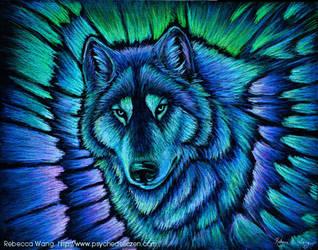 Wolf Aurora by rebeccawangart