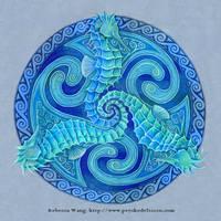 Seahorse Triskele Celtic Spiral Mandala by rebeccawangart