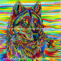 Psychedelic Wolf by rebeccawangart