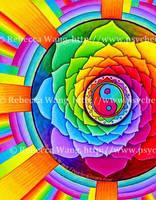 Healing Lotus Rainbow Yin Yang Mandala by rebeccawangart