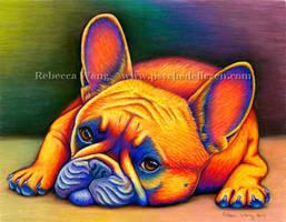 Colorful French Bulldog by rebeccawangart
