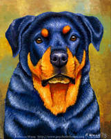Colorful Pet Portrait - Addie the Rottweiler by rebeccawangart