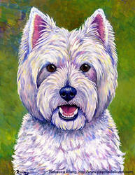 Colorful West Highland White Terrier Dog by rebeccawangart