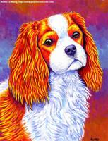 Colorful Cavalier King Charles Spaniel Dog by rebeccawangart