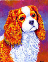 Colorful Cavalier King Charles Spaniel Dog by rebeccawangart