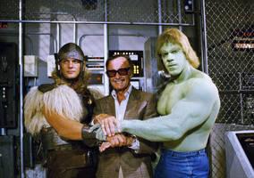 Thor Stan Lee And Hulk by WM4ART