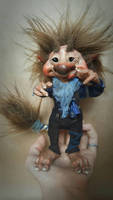 SOLD: OOAK Young Troll Poseable Art Doll 'Tic' by FaunleyFae