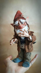 SOLD Poseable House Gnome 'Wardlewick' Art Doll by FaunleyFae