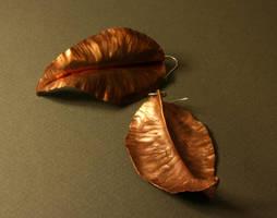 Copper Leaf Earrings by Anomiranda