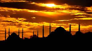 Blue Mosque and Hagia Sophia by vabserk