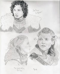 Sketch Dump: Jon Snow and Ygritte by haileyXheartless