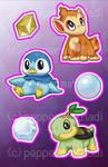 Stickers: Diamond/Pearl/Platinum Starters by peppermintMadi