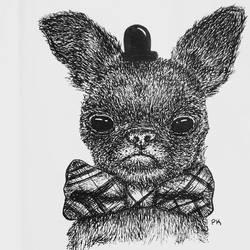 Pen drawing // fancy af doggy by MajesticPaula