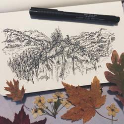 Mountainsides // pen sketch by MajesticPaula