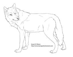 Free lineart wolf by Marzzunny