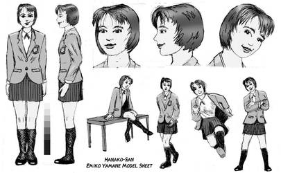 Hanako-San Model Sheet: Emiko Yamane by GregoriusU