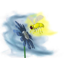 Bee and flower robot by robertoquerido