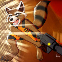 Rocket Raccoon Action by Bleuxwolf