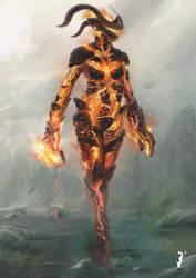 Elder Scrolls - Fire Atronach 02 by ISignRob