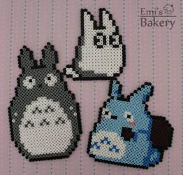 Perler Totoro Family by EmisBakery