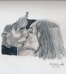 Damon and elena kiss by edward1307