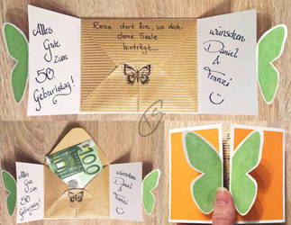Birthday card butterfly by Schunki
