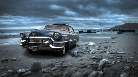 Seascape with blue caddy by petrolheadgman