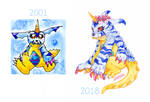 Gabumon 2001-2018 by nekophoenix
