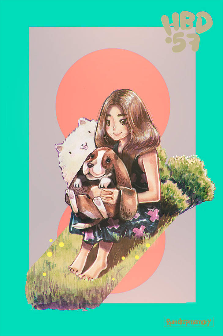 Girl and Basset Hound by Raindropmemory