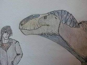 Me and a flashy Eustreptospondylus (detail) by Kazuma27