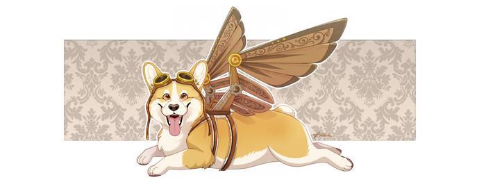 Winged Corgi by Minerea