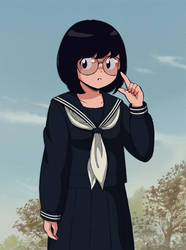 The girl of glasses who looks like an old animatio by aragon-11