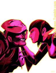 SkeleBoy vs NinjaGirl by RadioJane