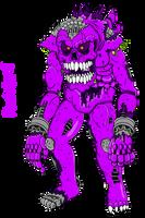 Fnaf World Redesigns: Purplegeist (Colored) by Bigjawthereptile