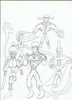 Elite Warriors Practice Sketch by JJStudioComics