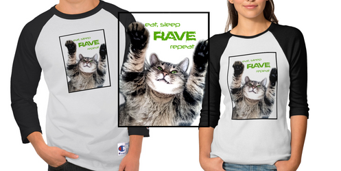 - Eat, Sleep, Rave, Repeat Shirt Design - by sonicwindartist