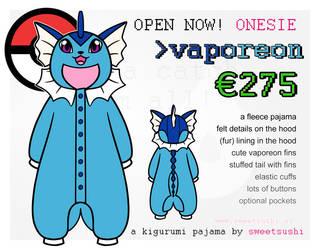 Kigurumi Pajama Concept Design - Vaporeon by Bathsua