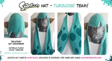 Splatoon Hat - Turquoise Team! by Bathsua